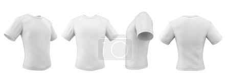Photo pour Série de t-shirts de modèle sous des angles différents, isolés sur fond blanc. illustration 3D. - image libre de droit