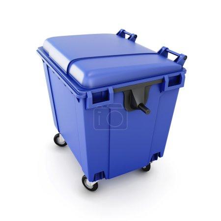 Blue trash can on wheels