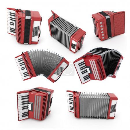 Set of accordion with different angles