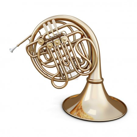 Photo pour Corne d'or isolée sur fond blanc. Image de rendu 3d. Série d'instruments de musique . - image libre de droit