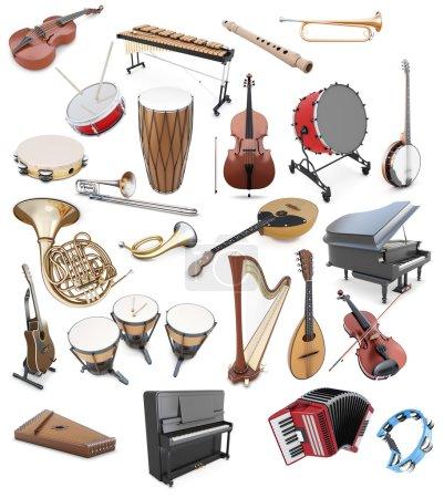 Photo pour Ensemble d'instruments de musique sur un fond blanc. Instruments à cordes. Outils à percussion. Instrument à clavier. illustration 3D. - image libre de droit