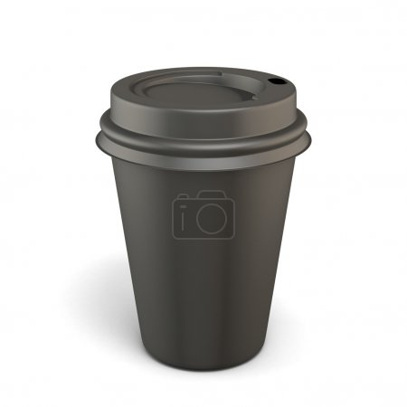 Photo for Empty black cup of coffee isolated on white background. 3d illustration. - Royalty Free Image