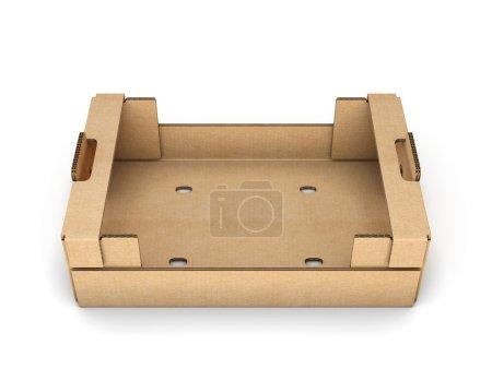 Photo pour Boîtes vides en carton pour fruits et légumes isolés sur fond blanc . - image libre de droit
