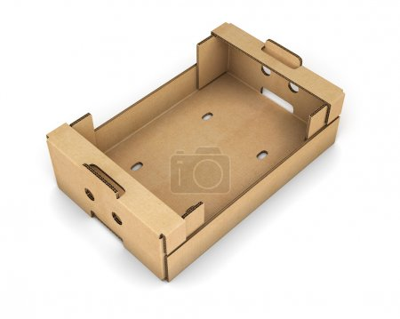Photo for Cardboard box for fruit and vegetables isolated on white background. 3d illustration. - Royalty Free Image