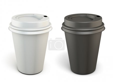 Photo for Template black and white plastic cups for coffee isolated on white background. 3d. - Royalty Free Image