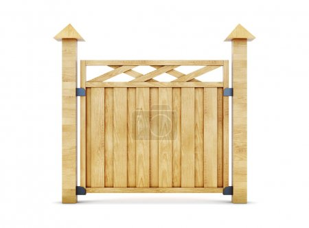 Wooden fence isolated on white background. 3d illustration