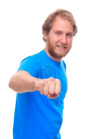 Bearded man doing fist bump