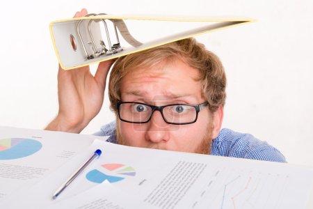 Fear of the boss - employee under the desk