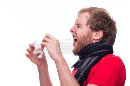 sick man sneezing none