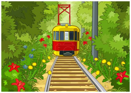 Illustration for Red and yellow tram rides in the midst of the park. - Royalty Free Image