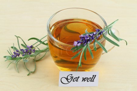 Get well card with hot lavender tea