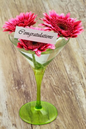 Congratulations card with pink gerbera daisies in martini glass
