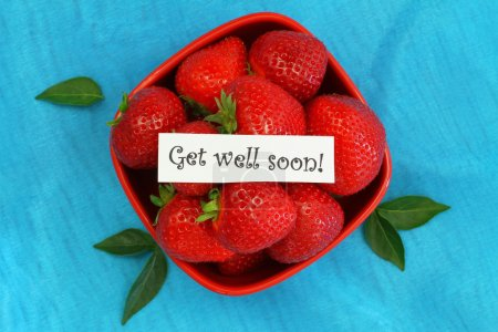 Get well soon card with bowl full of fresh strawberries