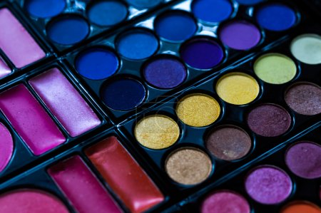Cosmetic.Makeup close up. .Eye-shadow pallet for professional make up