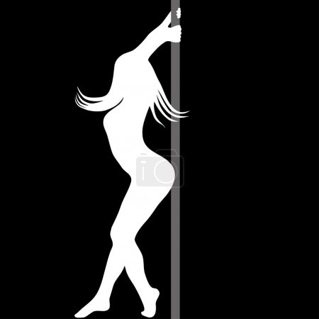 Pole dance women sexy silhouette. Vector illustration