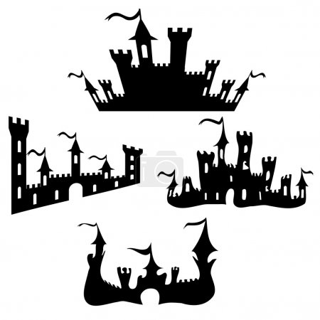 Vector black castle silhouettes set on white background