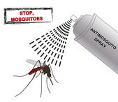 Sprej proti komáři ilustrace. Proti moskytům. silueta komáři