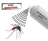 Spray anti mosquitoes illustration. Anti mosquito spray. silhouette mosquitoes.