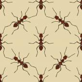 Seamless pattern with ant Formica exsecta   hand-drawn ant Vector illustration