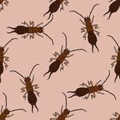Seamless pattern with  Earwig Forficula auricularia hand-drawn Earwig  Vector illustration