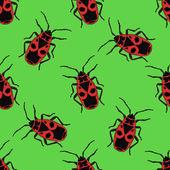 Seamless pattern with bug-soldier or Firebug     hand-drawn bug-soldier Firebug  Vector