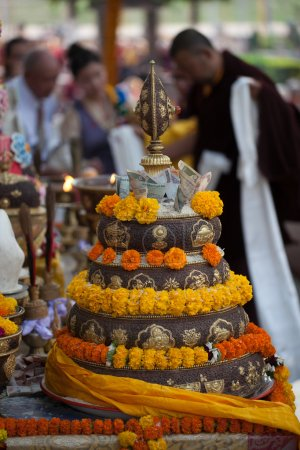 India. Bodhgaya. December 2013. Monlam - the main buddists festival of the year. Mandala Offering. Diamond way buddhism. Kagyu Monlam festival.