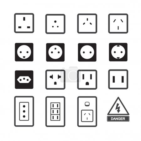 Illustration for Electric outlet and plug icon - Royalty Free Image