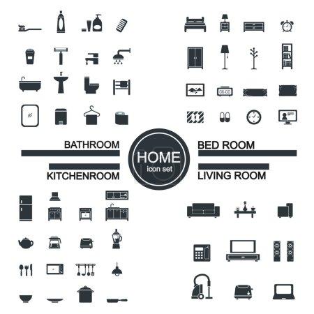 Living room , bedroom , kitchen, bathroom icon set