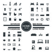 Living room  bedroom  kitchen bathroom icon set