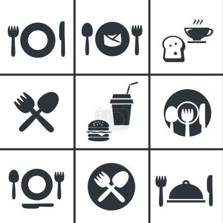 Illustration pour Food Center, Food Court, ensemble d'icônes fourchette et cuillère - image libre de droit
