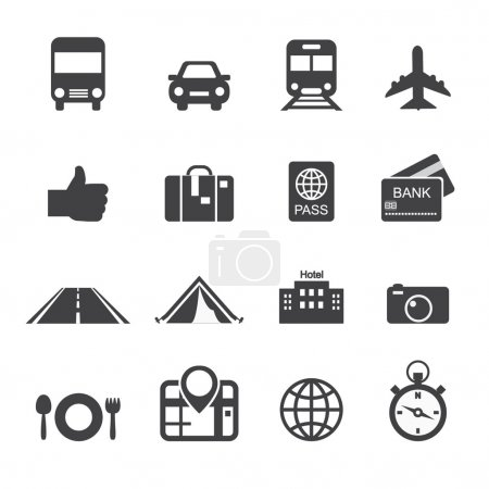 Illustration for Traveling and transport icons - Royalty Free Image