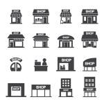 Shop building icon set...