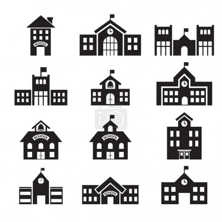 Illustration for School building icon - Royalty Free Image
