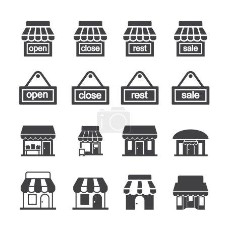 Shop building icon set
