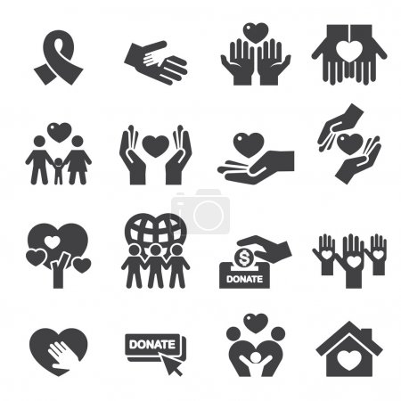 Illustration for Charity Silhouette icons - Royalty Free Image