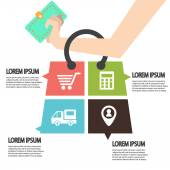 E-commerce infographic Template with bag  Concept add to bag Set of modern design icons in flat design with trendy colors for web and apps