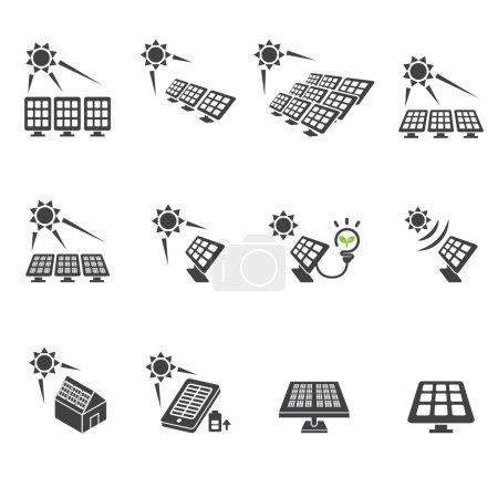 Illustration pour Icône de cellule solaire ensemble - image libre de droit