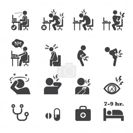 Illustration for Office syndrome icon - Royalty Free Image