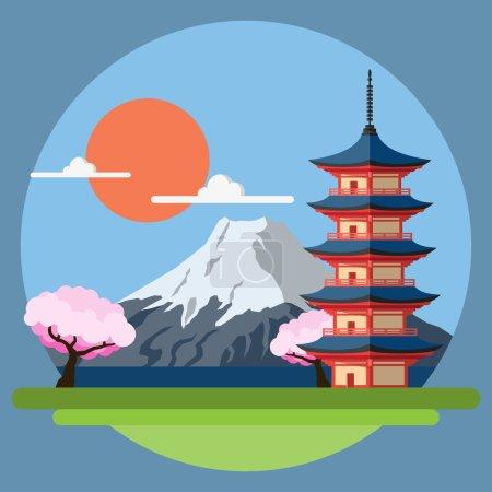 Illustration for Flat design landscape of Japan illustration vector - Royalty Free Image