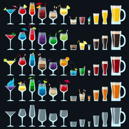 Set of colorful alcohol drinks