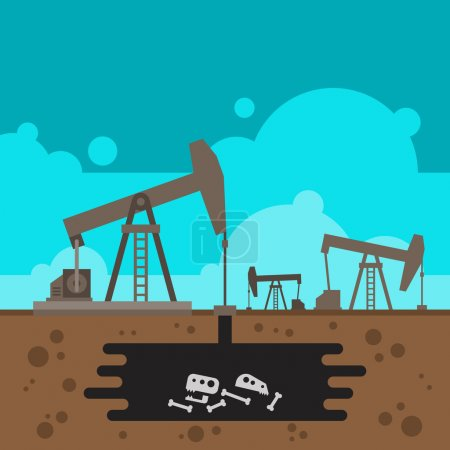 Oil well drilling with fossil underground