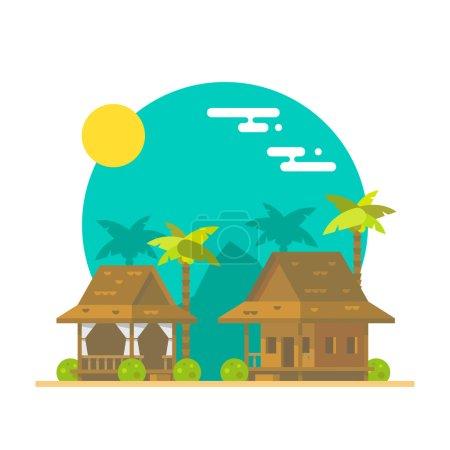 Flat design of beach bungalows