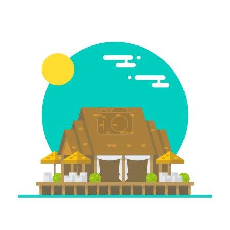 Flat design of over water beach restaurant