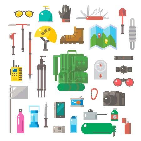 Illustration for Flat design of hiking equipment set illustration vector - Royalty Free Image