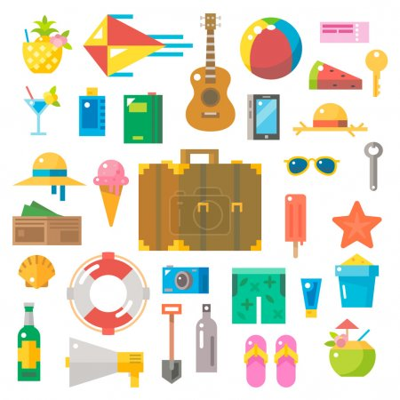 Illustration for Flat design of summer beach items set illustration vector - Royalty Free Image