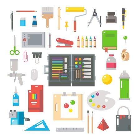 Illustration pour Conception plate des articles de designer set illustration vecteur - image libre de droit