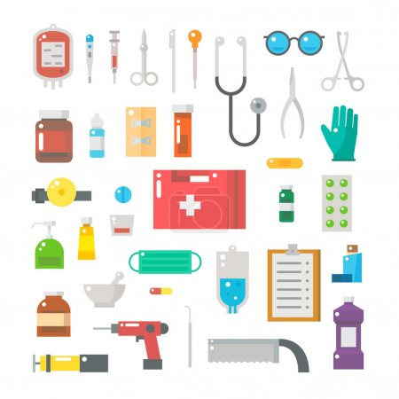 Illustration for Flat design of medical equipments set illustration vector - Royalty Free Image