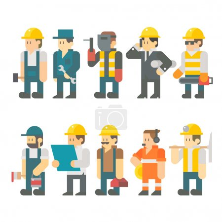Flat design of construction worker set