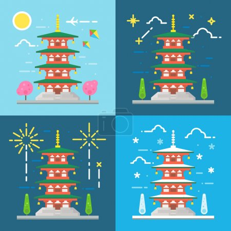 Flat design 4 styles of Chureito pagoda Japan