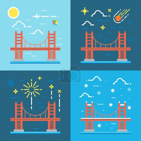 bridge, golden, gate, vector, san, francisco, illustration, red,